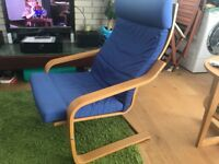 2 Ikea POANG chairs and foot stool