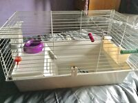 Indoor Rabbit/Guinea Pig Cage with water bottle, food bowl, hey holder and chew toys