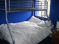 SILVER FRAME TRIPLE BUNK BED - VERY GOOD CONDITION £50 FREE COLLECTION
