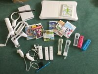 Wii console, Wii fit board and accessories