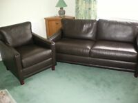 JOHN LEWIS BROWN LEATHER SETTEE AND ARM CHAIR