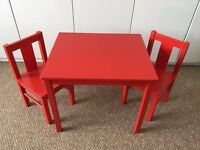 Ikea Kritter Kids/Children's Table & Chairs - Red