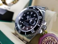 New and boxed silver bracelet and case black bezel and face Rolex submariner watch automatic sweep