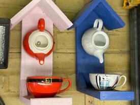 Handmade Teapot birdhouse and feeder