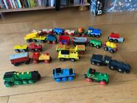 Large Brio wooden train set with trains