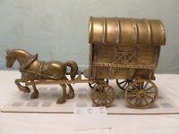 Brass vintage horse and gypsy caravan - very heavy