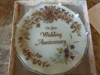 Wedding Anniversary glass plate