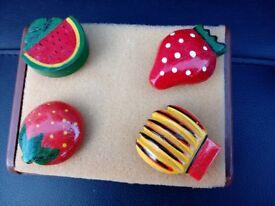 Four old wooden fruit badges forsale