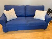 Blue Ikea EKTORP 2-Seater Sofa Bed