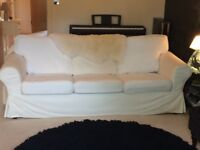 IKEA white 3 seater sofa. 215cm wide in good condition. Collect only.