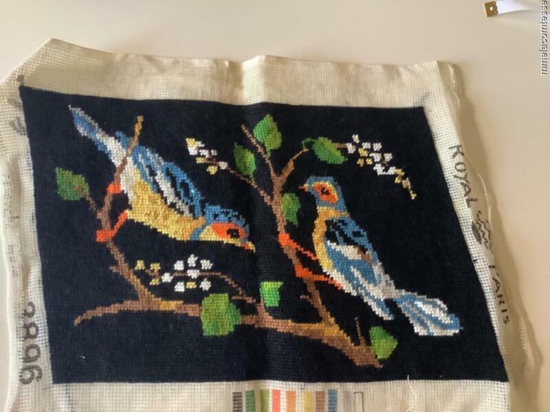 Vintage finished needlepoint. Colorful birds
