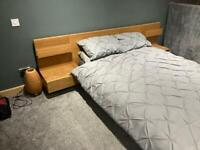 Double bed with memory foam topper and mattress