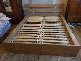 Ikea oak veneer Malm bed frame kingsize