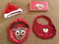 0-3 month baby Santa hat, My First Christmas photo album, 2 x Christmas bibs - £3.00