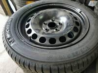 """VW 16"""" STEEL WHEEL & 7MM MICHELIN TYRE 205 55 16 RIM 5X112 PASSAT GOLF SHARAN GALAXY"""