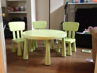 IKEA mammut green round table & 3 chairs