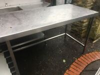 Stainless Steel Commercial Kitchen Worktop Bench with shelf rails