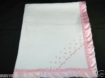 Carters Embroidered Baby Blanket - Carters White Baby Blanket Embroidered Rosebuds Pink Satin Trim Ex. Cond.
