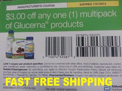 Twenty (20) $3 Off any one multipack of Glucerna Products Coupons. Exp 7/31/2013 on Rummage