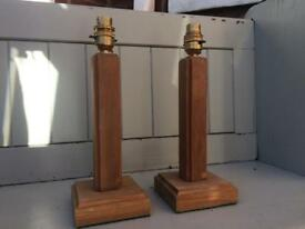 Two wooden lamp stands