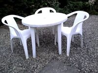 Garden Table and Three Chairs