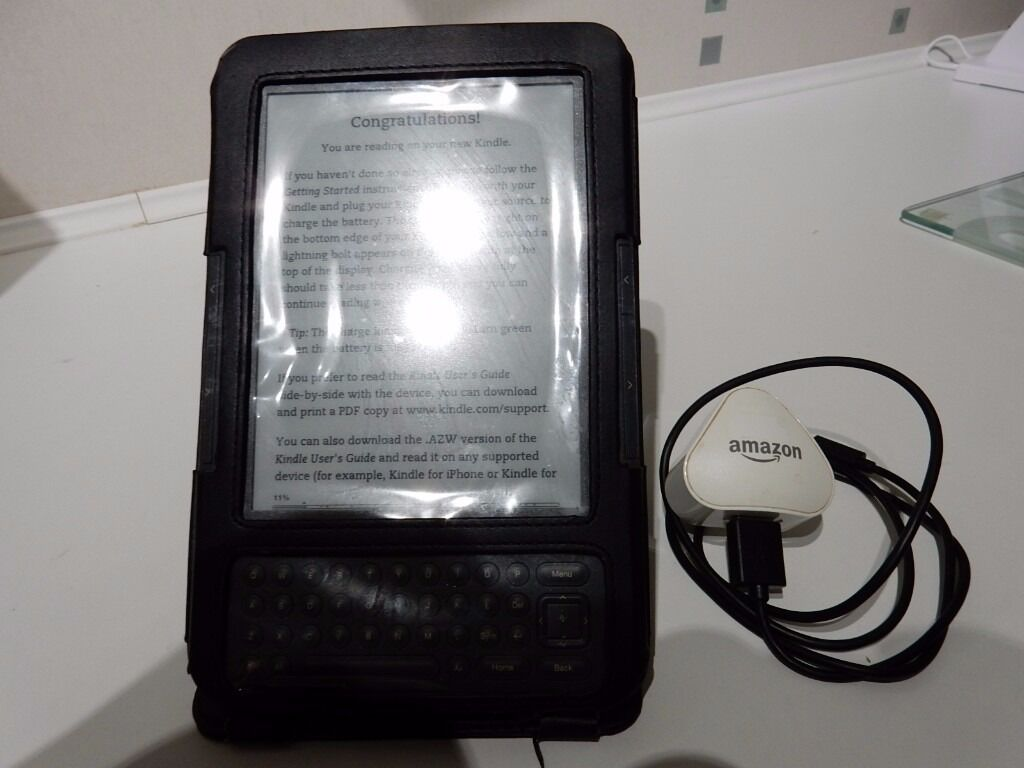 Amazon Kindle Keyboard, 3G, WiFi3rd Generationin Trinity, EdinburghGumtree - Amazon Kindle Keyboard, 3G, WiFi 3rd Generation. New with protective covering on front and rear. With leather case, Power Unit and USB cable. (Has been registered and de registered with Amazon. Kindle Keyboards screen reads like real paper, with no...