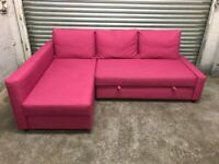 FREE DELIVERY IKEA FRIHETEN PINK L-SHAPED SOFA BED GOOD CONDITION