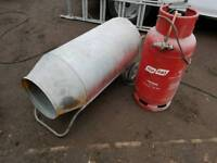 Propane gas space heater with gas bottle