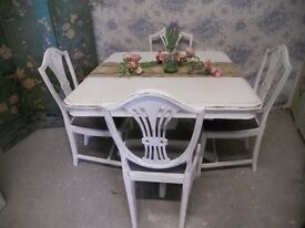Painted Shabby Chic Table and 4 Chairs