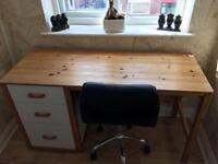 Vintage Style Desk and Faux Leather Chair