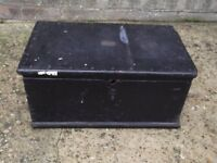 Old wooden tool box with lift out tray