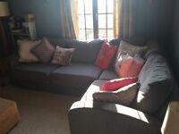 Large grey corner sofa bed
