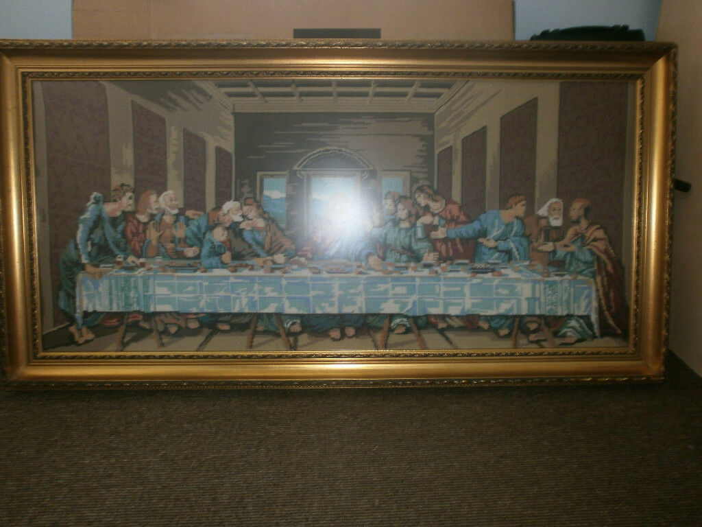 Large framed 100% wool hand-stitched tapestry. \'The last supper\'. 4 ...