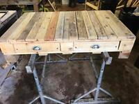 Large reclaimed wood coffee table with 4 drawers