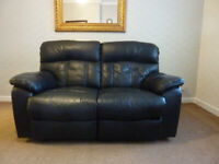 Black leather PU 2 seater couch recliner