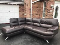🍁 LUXURY BROWN LEATHER CORNER SUITE SOFA