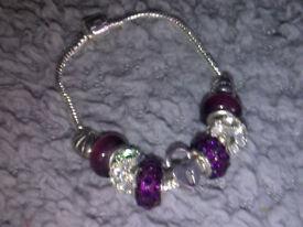 Purple/Silver Pandora Style Bracelet