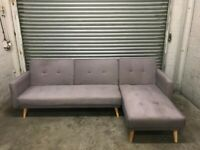 FREE DELIVERY GREY FABRIC CLIC CLAC CORNER SOFA BED