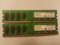 4gb kit 2 x Crucial 2GB PC2-6400 DDR2 240 PIN DIMM RAM CT25664AA800