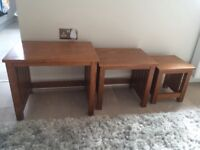 Nest set of 3 solid wood side coffee tables