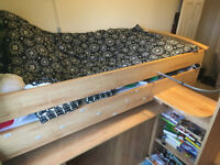 Lovely, high quality GAMI skipper cabin bed - integrated drawers, bookshelves, cupboards and desk