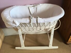 Moses basket in good condition. With rocking stand. Delivery possible if local £20 Ono