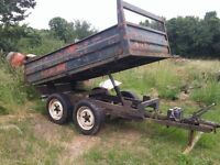 3.5 ton tipping road trailer twin axle wheels, electric tip
