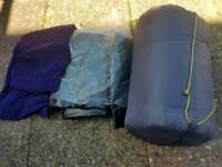 Flocked double air bed, sleeping bag and pillows