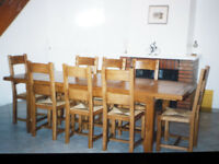 Table & 8 Chairs. French Solid Oak.