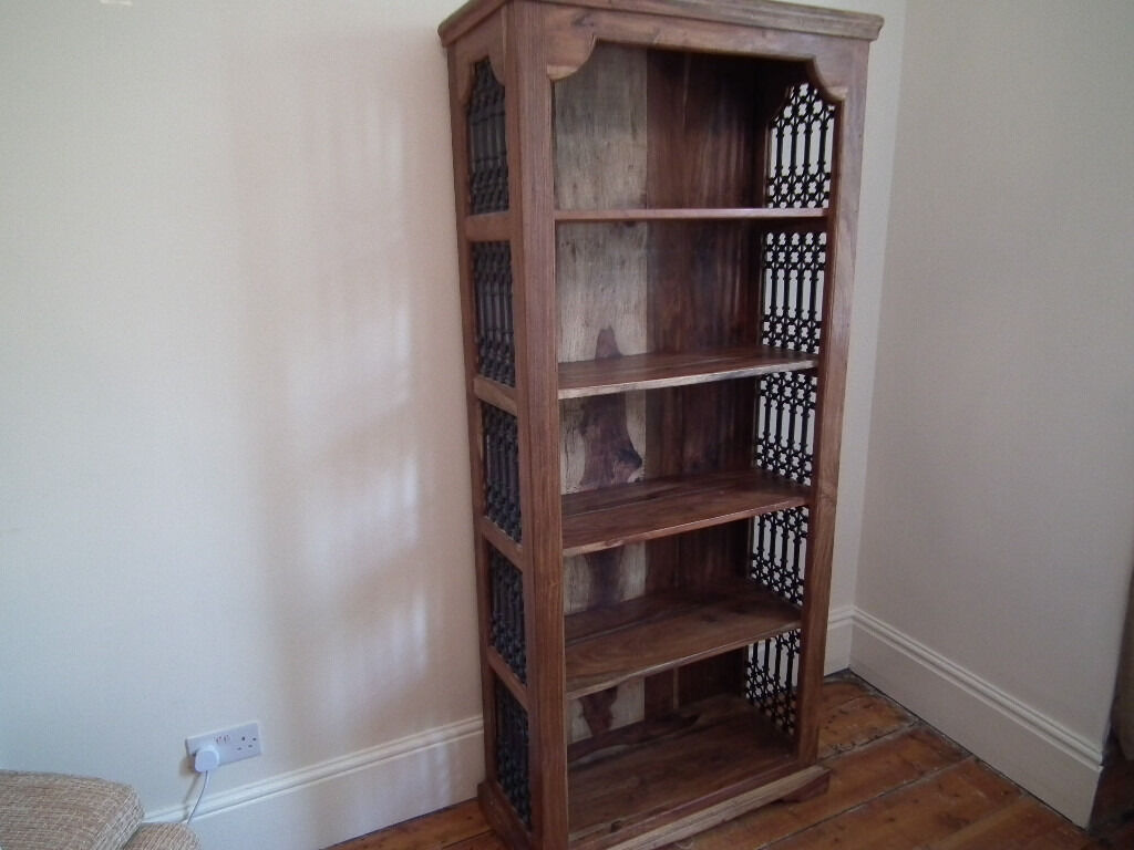 Indian Heavy Solid Wood Jali Bookcase With Iron Fretwork