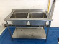 Commercial double sink - stainless steel