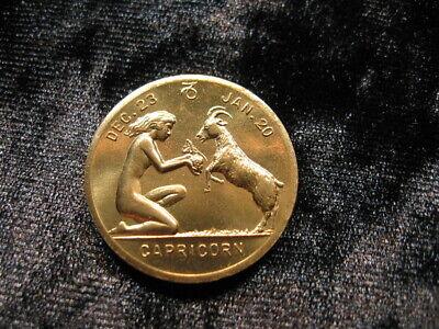 Beautiful old vintage Zodiac token coin nude Capricorn woman & Goat (296)