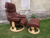 FABULOUS STRESSLESS LEATHER RECLINING CHAIR