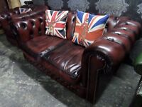 Stunning Chesterfield Low Back 2 Seater Oxblood Red Leather Possible Delivery